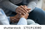 Small photo of Adult daughter comforting old mom strokes holds her hand close up view. Strong connection confidential conversation, empathy and mercy, support in hard life period, be near sharing heart pain concept