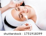 Face peeling at the beautician. Facial treatments. Chemical and salicylic peels.