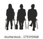 silhouette of sitting people in ... | Shutterstock . vector #175193468