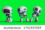 Angry White Toy Robot. 3d...