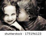 portrait of grandmother kissing ... | Shutterstock . vector #175196123