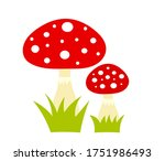 Two Red Toadstool Mushrooms...