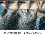 Hydroelectric Dam With Flowing...