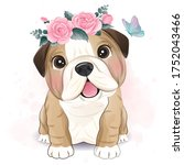 cute little bulldog with floral ...   Shutterstock .eps vector #1752043466