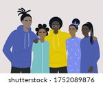 young black teenagers hugging... | Shutterstock .eps vector #1752089876