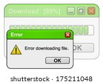 Error downloading file at 99%. vector art image illustration, isolated on white background eps10