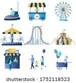 Amusement Park Flat Icon Set...