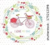 Cute Card With Floral Wreath...
