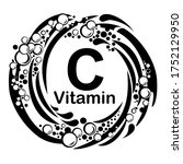 vitamin c icon. ascorbic acid... | Shutterstock .eps vector #1752129950