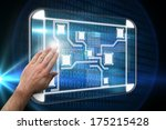 hand presenting against glowing ...   Shutterstock . vector #175215428