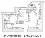 planning of the apartment with... | Shutterstock .eps vector #1752191276