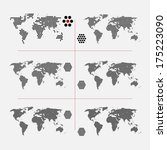 set of dotted world maps in... | Shutterstock .eps vector #175223090