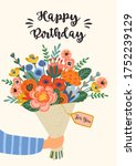 happy birthday. vector... | Shutterstock .eps vector #1752239129
