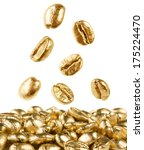 Gold Coffee Beans On White...