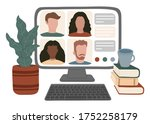 online video conference ... | Shutterstock .eps vector #1752258179