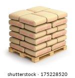 cement sacks on wooden pallet | Shutterstock . vector #175228520