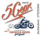 vintage race car and motorcycle ... | Shutterstock .eps vector #175232564