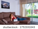 woman sitting comfortably at... | Shutterstock . vector #1752331043