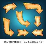 arrow marquee sign vector set.... | Shutterstock .eps vector #1752351146