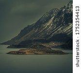 Winter scene somewhere on the Lofoten islands, Norway - stock photo