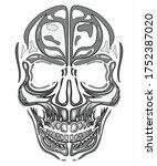 isolated human skull on white... | Shutterstock .eps vector #1752387020