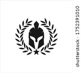 spartan helmet warrior inside... | Shutterstock .eps vector #1752391010