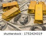 Gold Bullion Bars On Usd Money...