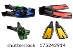 set of multicolored swim fins ... | Shutterstock . vector #175242914