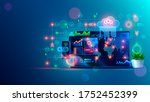 remote collaboration in home...   Shutterstock .eps vector #1752452399