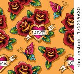 vintage tattoo seamless pattern ... | Shutterstock .eps vector #175259630