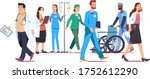 different doctors staff walking ... | Shutterstock .eps vector #1752612290