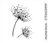 Black Dandelion Icon  Cute Hand ...