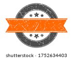 blank round stamp with orange... | Shutterstock .eps vector #1752634403