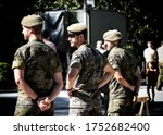 Seville, Spain - May 30, 2019: Portrait of spanish soldiers in service of control during Armed Forces Day in Seville, Spain.  - stock photo