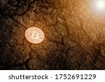 shiny bitcoin on the ground.   Shutterstock . vector #1752691229