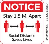 social distancing sticker.... | Shutterstock .eps vector #1752718580