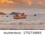 Fishing Boats In The Sea At...