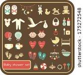 set of baby shower elements.... | Shutterstock .eps vector #175272548