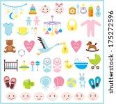 set of baby shower elements... | Shutterstock .eps vector #175272596