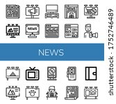 news icon set. collection of...   Shutterstock .eps vector #1752746489