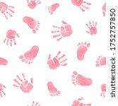 Seamless Pattern With Kids Palm ...