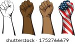 raised fist set including line... | Shutterstock .eps vector #1752766679