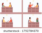 portrait of people in a cafe... | Shutterstock .eps vector #1752784370