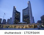 Stock photo toronto canada january toronto s city hall on nathan phillips square at night home 175293644