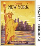 Travel to New York Poster - Vintage travel advertisement with New York City and Statue of Liberty against the sunny sky; hand drawn vector illustration - stock vector