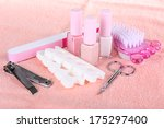 pedicure set on table close up | Shutterstock . vector #175297400