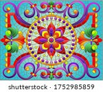 illustration in stained glass... | Shutterstock .eps vector #1752985859