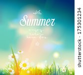 Summer sunrise or sunset background.  Vector design for print or web.         | Shutterstock vector #175301234
