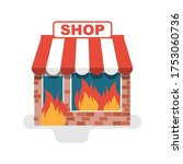 shop in a fire. burning store.... | Shutterstock .eps vector #1753060736