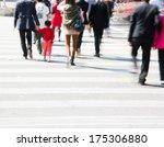 busy city street people on... | Shutterstock . vector #175306880